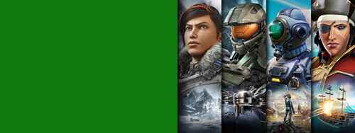 Xbox Game Pass, игровые персонажи из игр Gears 5, Halo, The Outer Worlds и Sea of Thieves.