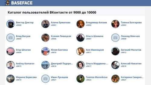Список пользователей ВКонтакте