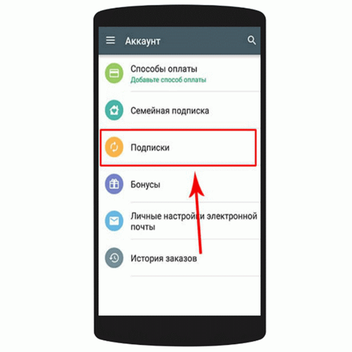 Управление подписками в Google Play