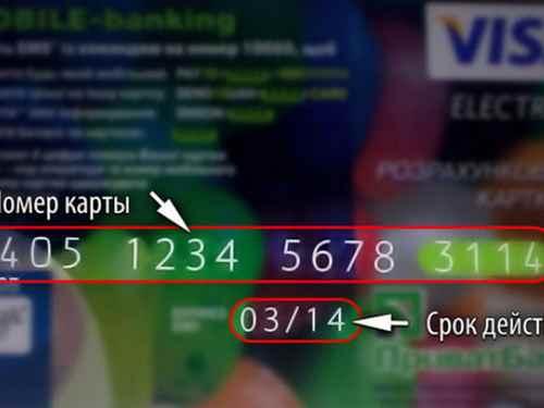 Номер кредитной карты и срок ее действия