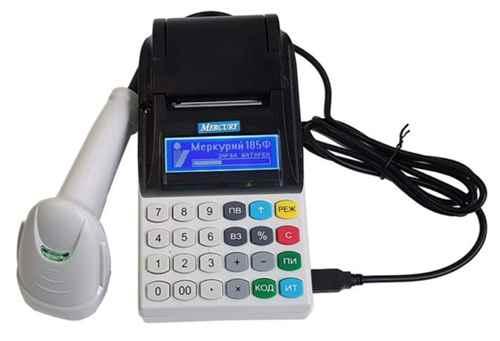 Меркурий онлайн-касса с подключенным сканером штрих-кодов